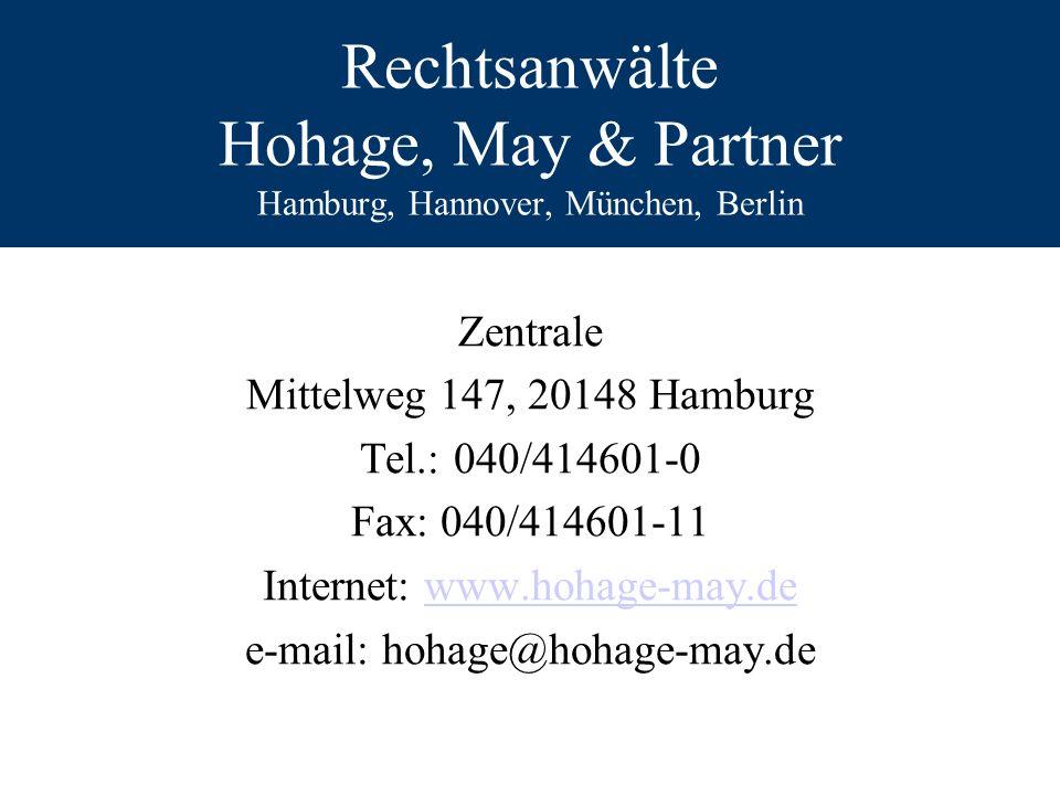 Rechtsanwälte Hohage, May & Partner Hamburg, Hannover, München, Berlin