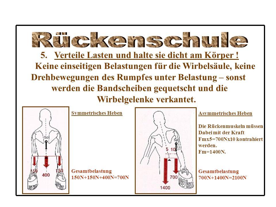 Rückenschule Verteile Lasten und halte sie dicht am Körper !