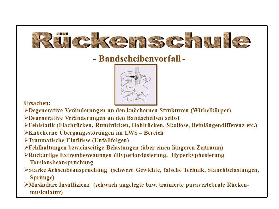 Rückenschule - Bandscheibenvorfall - Ursachen: