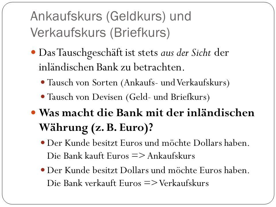 Ankaufskurs (Geldkurs) und Verkaufskurs (Briefkurs)