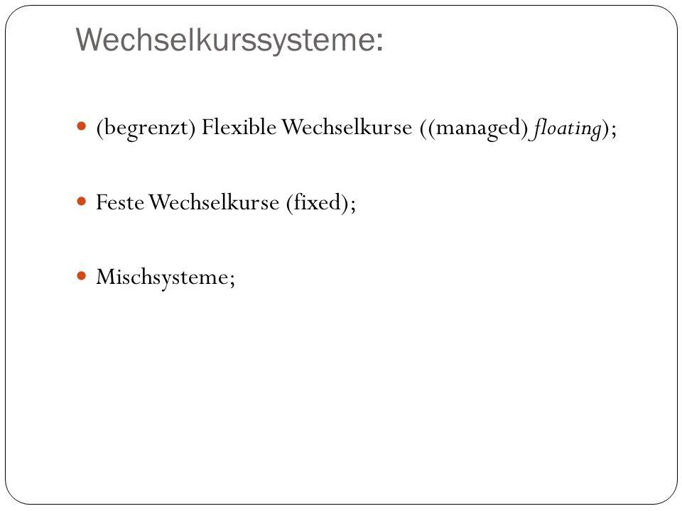 Wechselkurssysteme: (begrenzt) Flexible Wechselkurse ((managed) floating); Feste Wechselkurse (fixed);