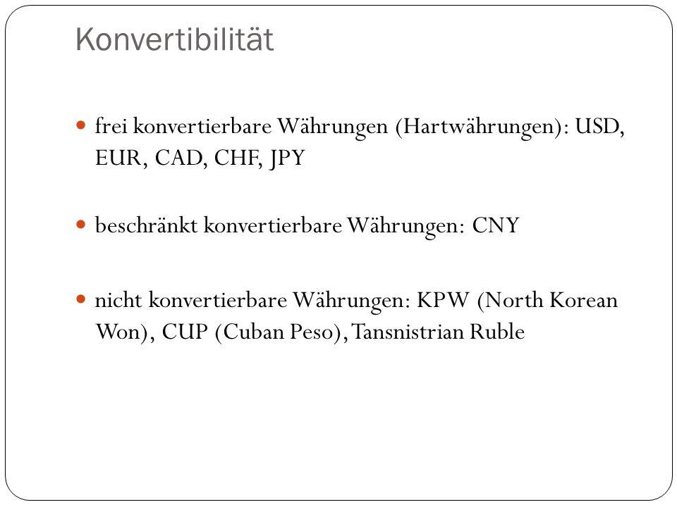 Konvertibilität frei konvertierbare Währungen (Hartwährungen): USD, EUR, CAD, CHF, JPY. beschränkt konvertierbare Währungen: CNY.