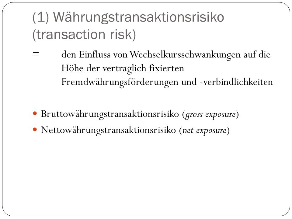 (1) Währungstransaktionsrisiko (transaction risk)