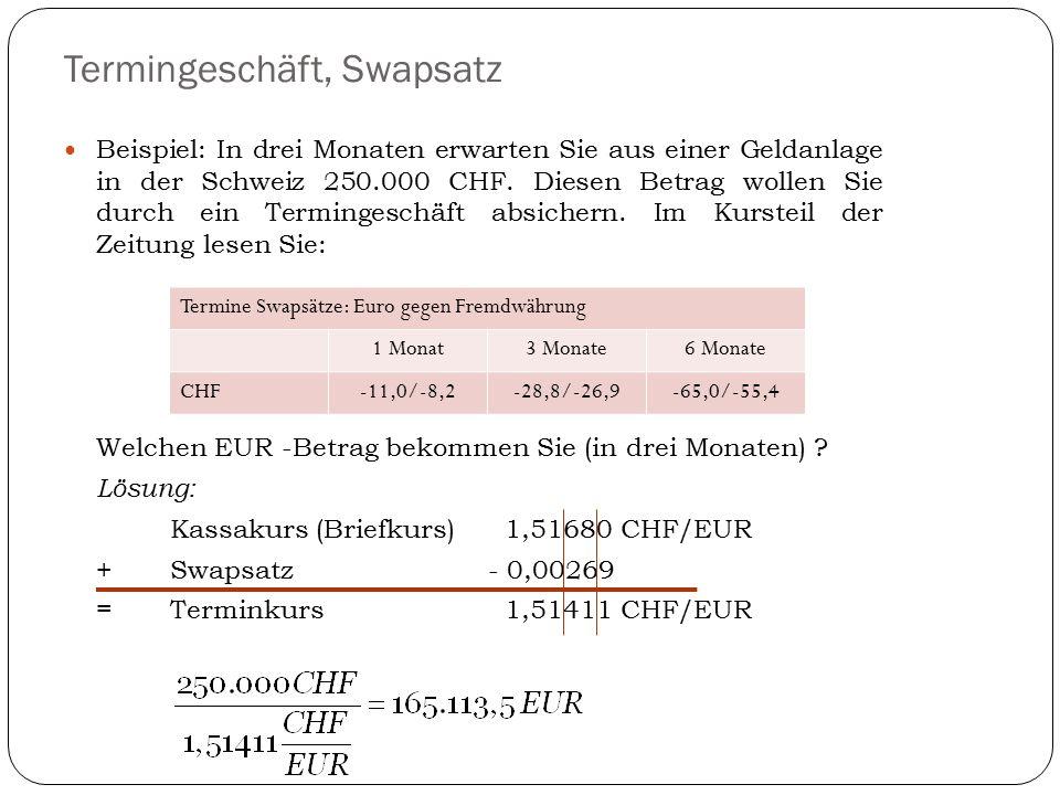 Termingeschäft, Swapsatz