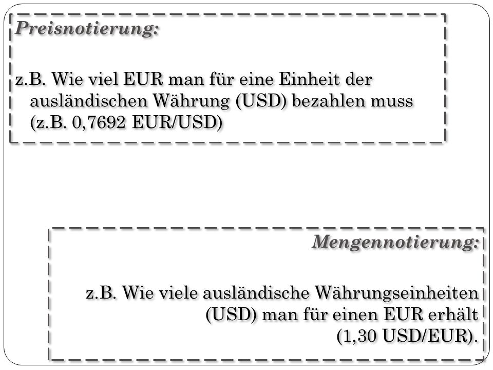 Preisnotierung: z.B. Wie viel EUR man für eine Einheit der ausländischen Währung (USD) bezahlen muss (z.B. 0,7692 EUR/USD)