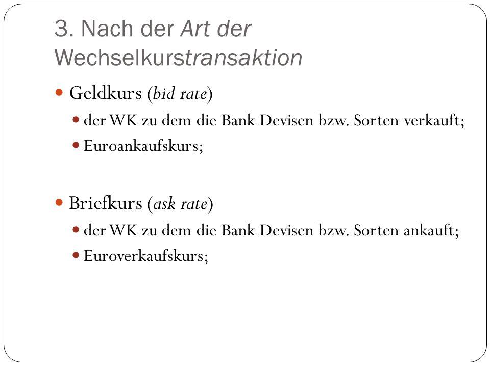 3. Nach der Art der Wechselkurstransaktion