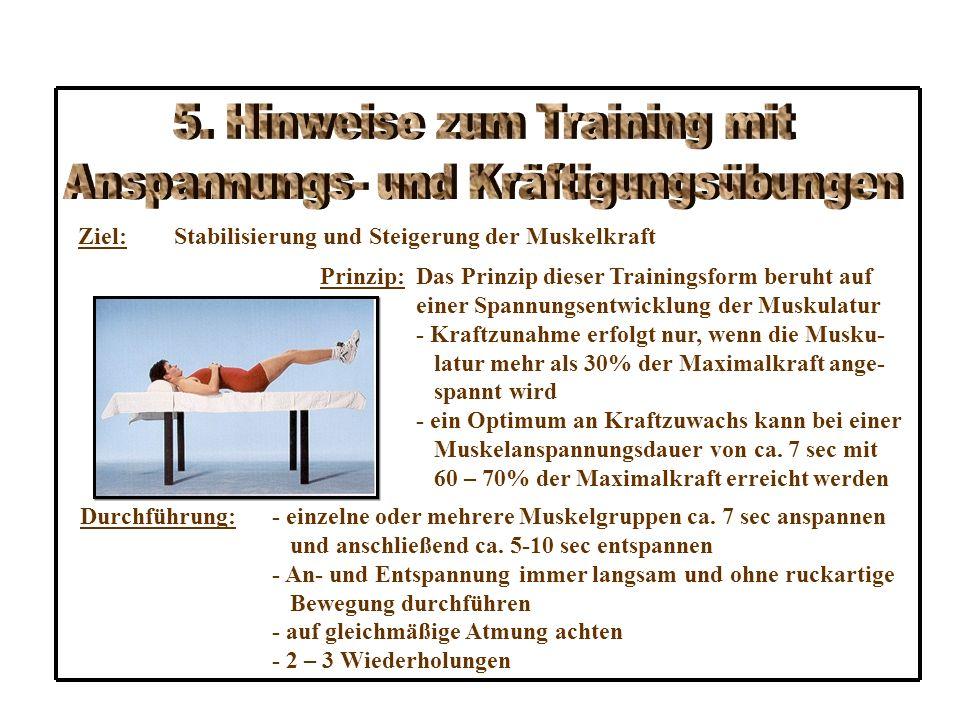 5. Hinweise zum Training mit Anspannungs- und Kräftigungsübungen