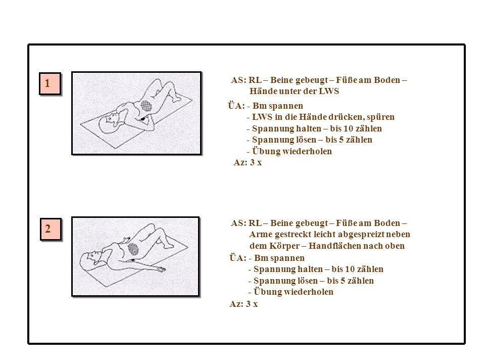 1 2 AS: RL – Beine gebeugt – Füße am Boden – Hände unter der LWS