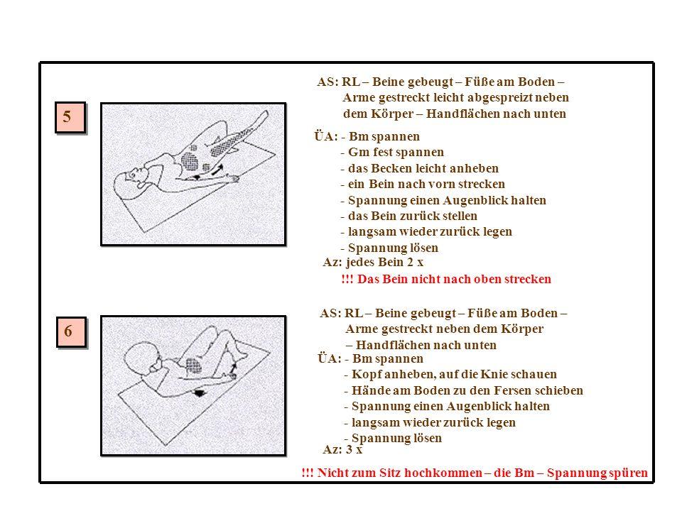 5 6 AS: RL – Beine gebeugt – Füße am Boden –