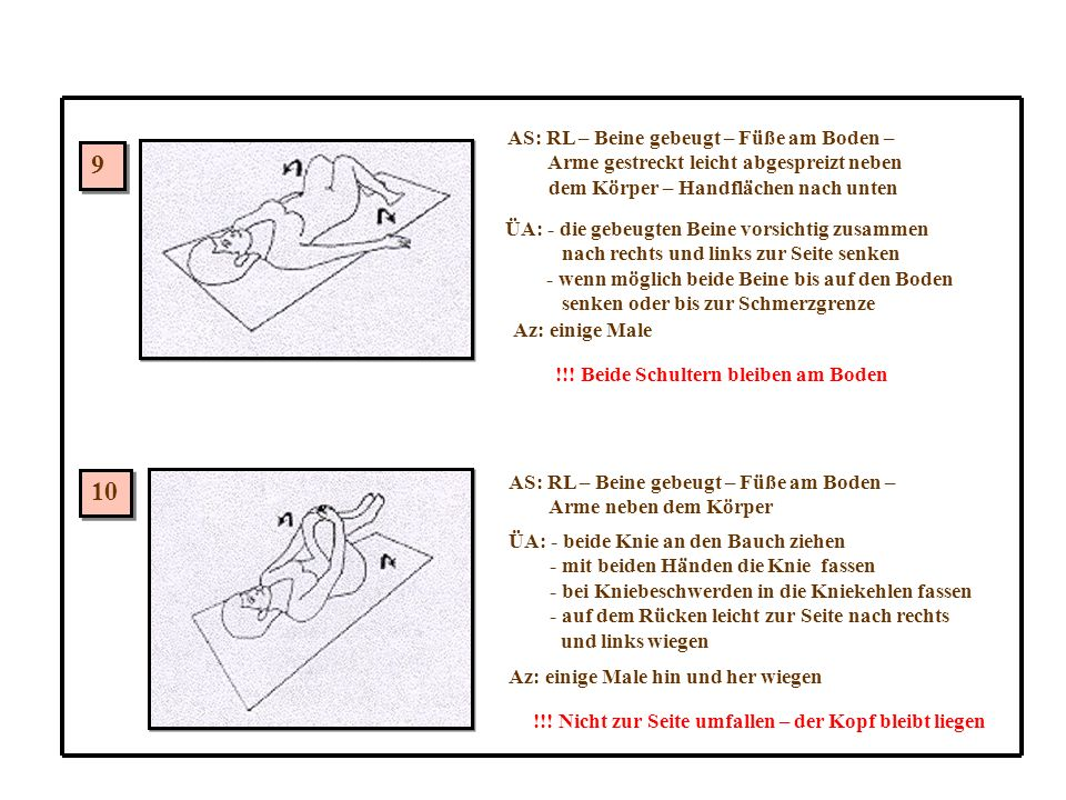 9 10 AS: RL – Beine gebeugt – Füße am Boden –