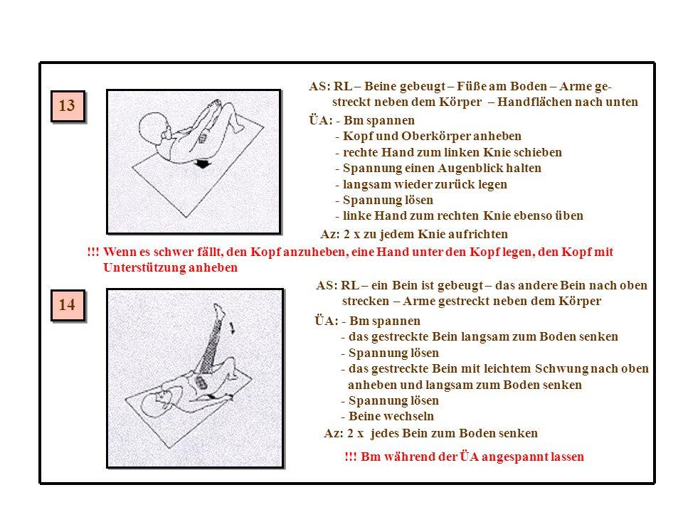 13 14 AS: RL – Beine gebeugt – Füße am Boden – Arme ge-