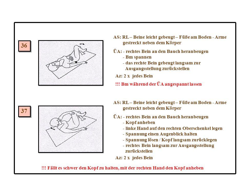 36 37 AS: RL – Beine leicht gebeugt – Füße am Boden - Arme