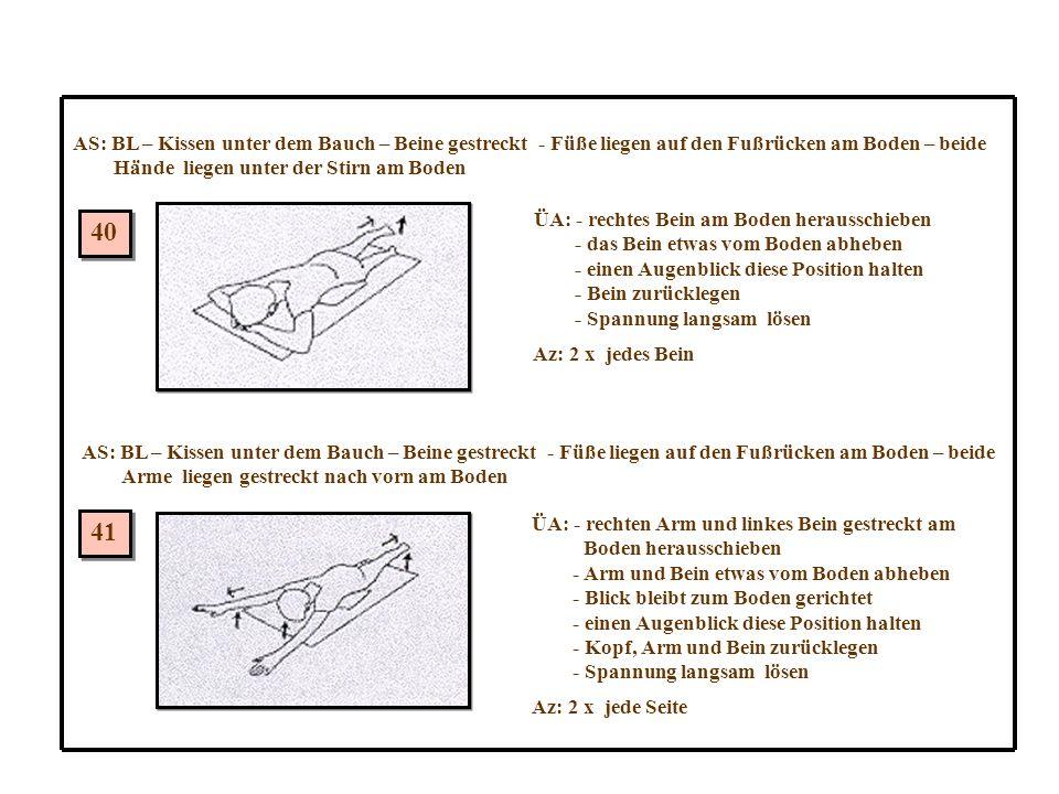 AS: BL – Kissen unter dem Bauch – Beine gestreckt - Füße liegen auf den Fußrücken am Boden – beide