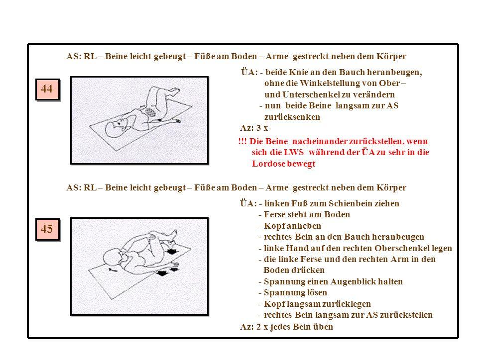 AS: RL – Beine leicht gebeugt – Füße am Boden – Arme gestreckt neben dem Körper