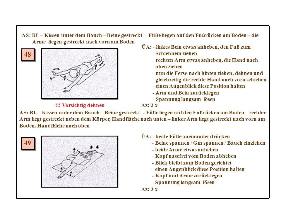 AS: BL – Kissen unter dem Bauch – Beine gestreckt - Füße liegen auf den Fußrücken am Boden – die
