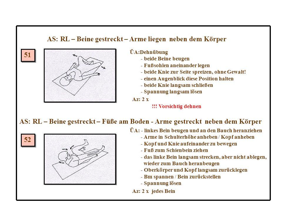 AS: RL – Beine gestreckt – Arme liegen neben dem Körper