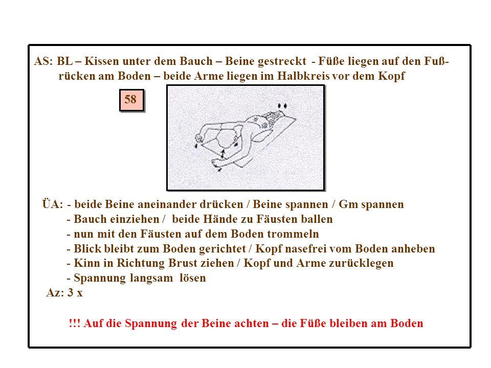 AS: BL – Kissen unter dem Bauch – Beine gestreckt - Füße liegen auf den Fuß-