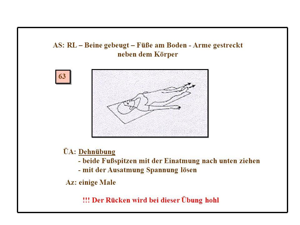 AS: RL – Beine gebeugt – Füße am Boden - Arme gestreckt