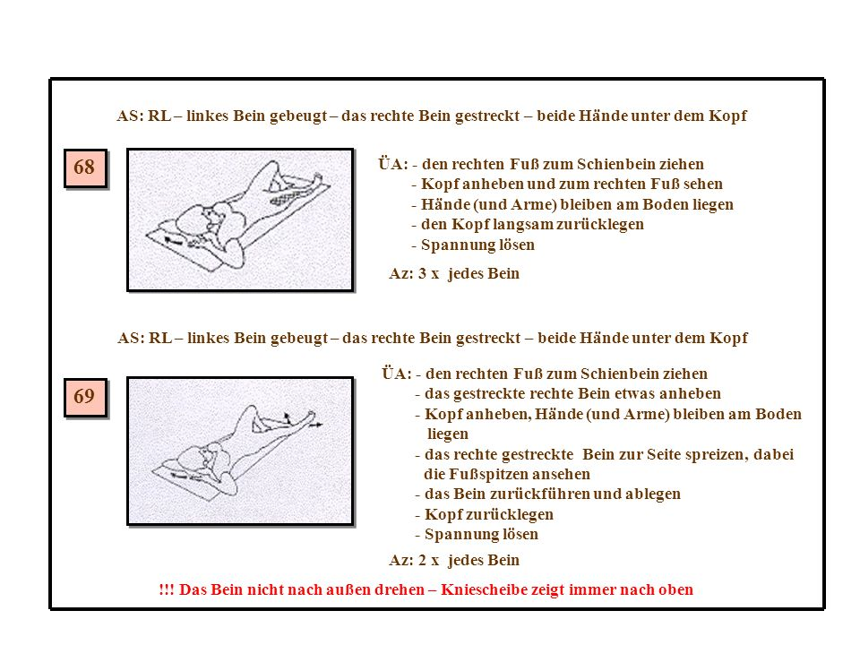 AS: RL – linkes Bein gebeugt – das rechte Bein gestreckt – beide Hände unter dem Kopf