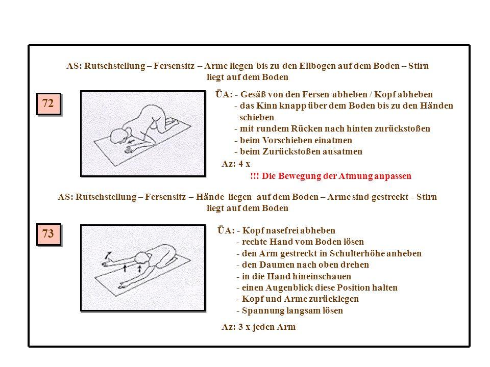 AS: Rutschstellung – Fersensitz – Arme liegen bis zu den Ellbogen auf dem Boden – Stirn