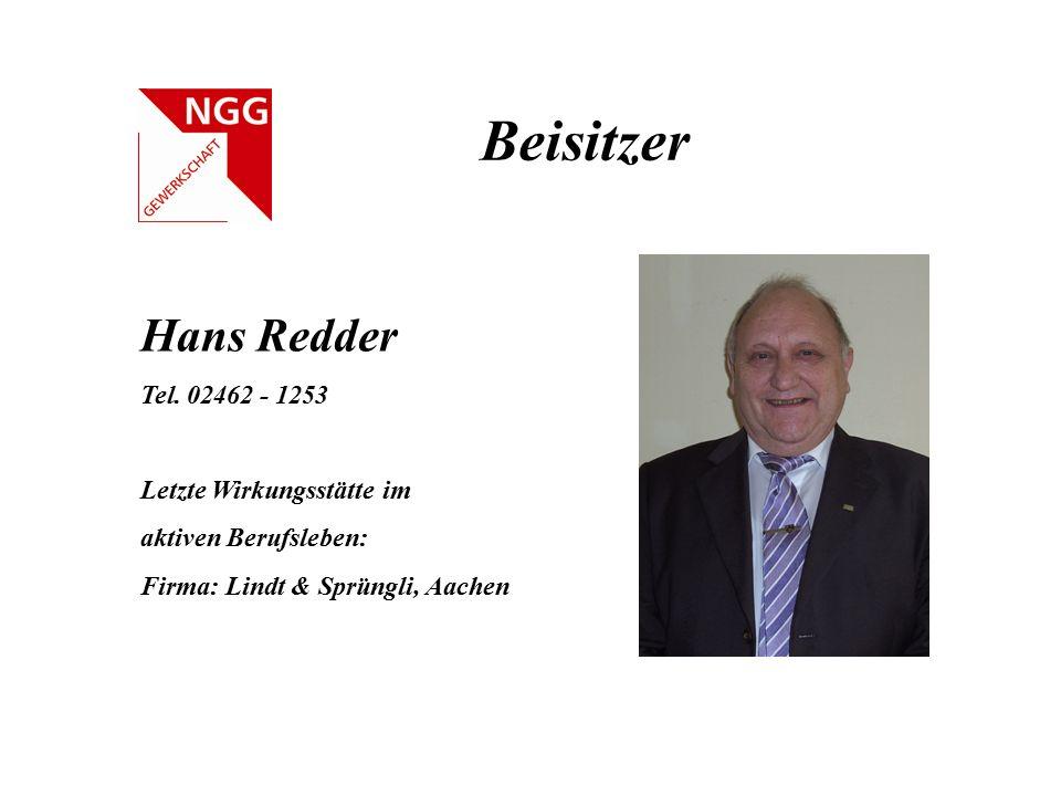 Beisitzer Hans Redder Tel. 02462 - 1253 Letzte Wirkungsstätte im