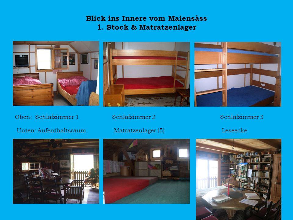 Blick ins Innere vom Maiensäss 1. Stock & Matratzenlager
