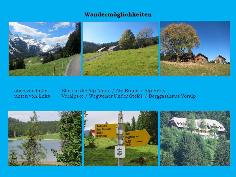 Wandermöglichkeiten oben von links: Blick in die Alp Naus / Alp Brand / Alp Herty.