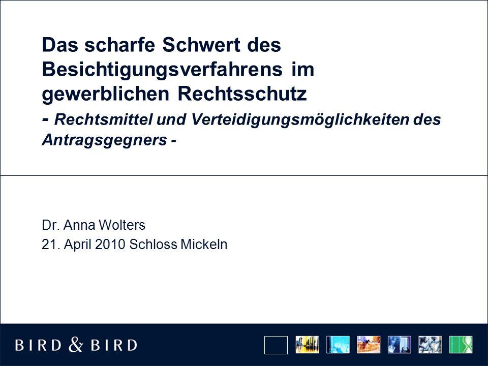 Dr. Anna Wolters 21. April 2010 Schloss Mickeln