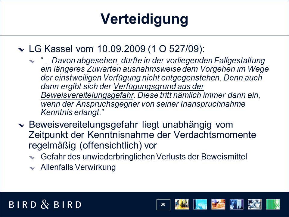 Verteidigung LG Kassel vom 10.09.2009 (1 O 527/09):