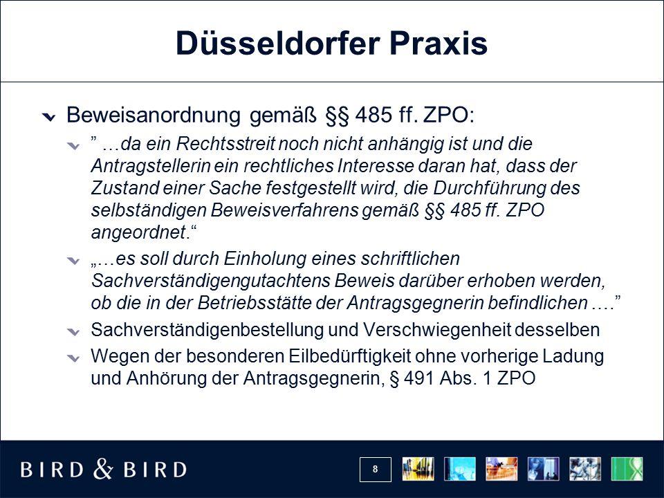 Düsseldorfer Praxis Beweisanordnung gemäß §§ 485 ff. ZPO: