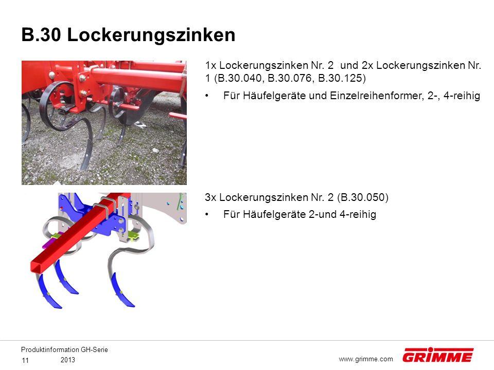 B.30 Lockerungszinken 1x Lockerungszinken Nr. 2 und 2x Lockerungszinken Nr. 1 (B.30.040, B.30.076, B.30.125)