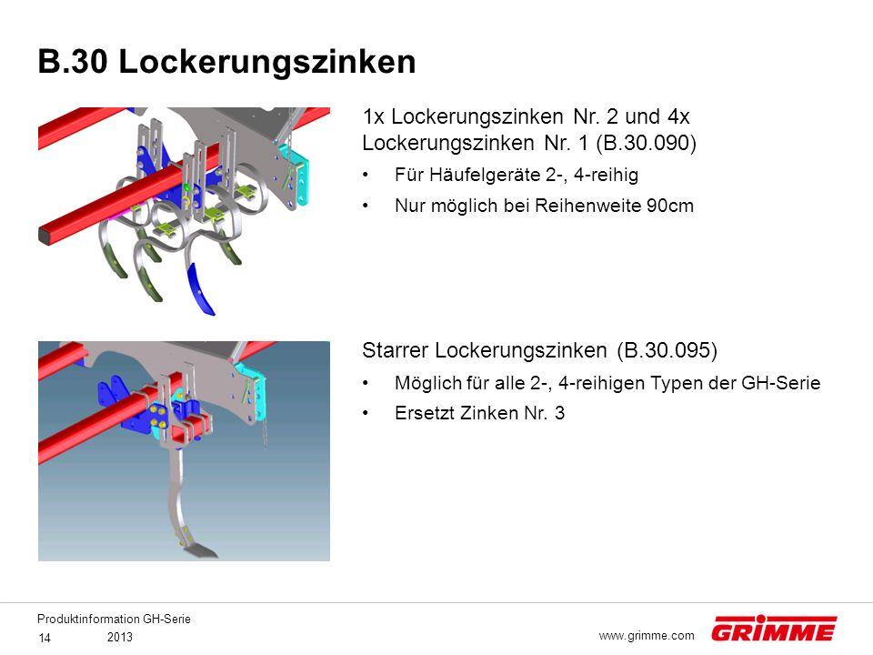 B.30 Lockerungszinken 1x Lockerungszinken Nr. 2 und 4x Lockerungszinken Nr. 1 (B.30.090) Für Häufelgeräte 2-, 4-reihig.