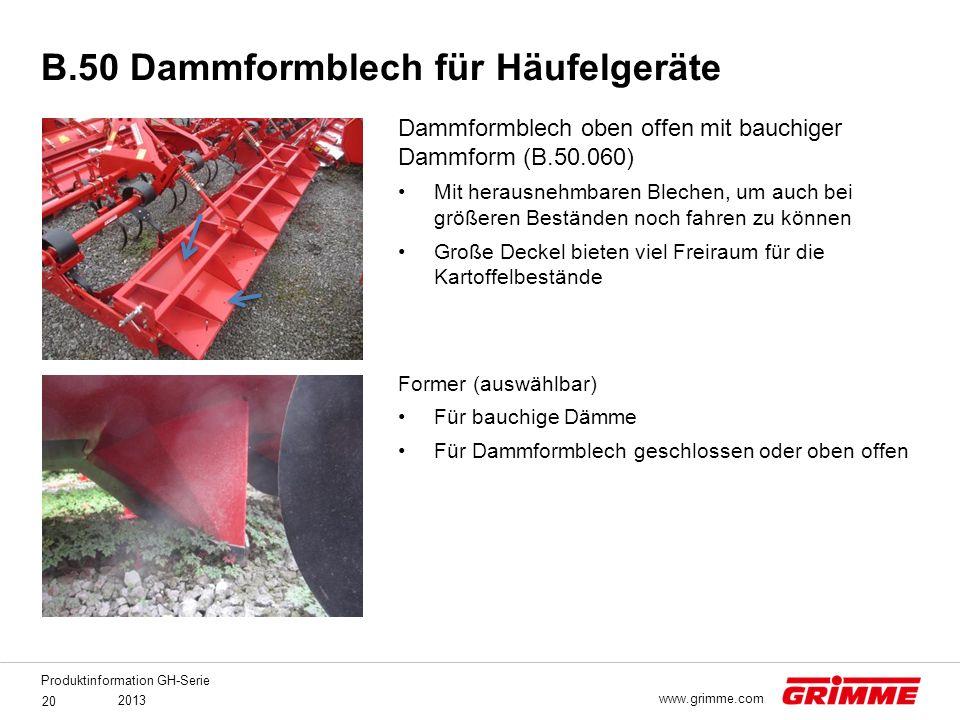 B.50 Dammformblech für Häufelgeräte