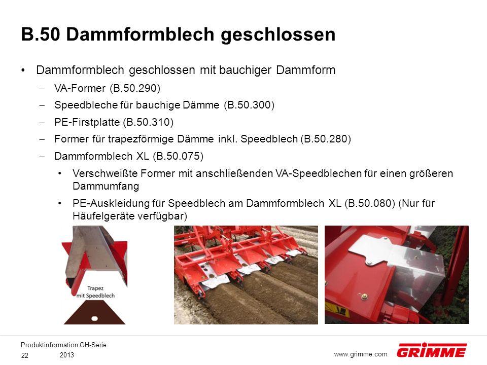 B.50 Dammformblech geschlossen