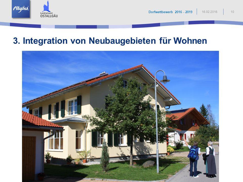 3. Integration von Neubaugebieten für Wohnen
