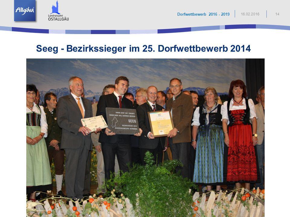 Seeg - Bezirkssieger im 25. Dorfwettbewerb 2014