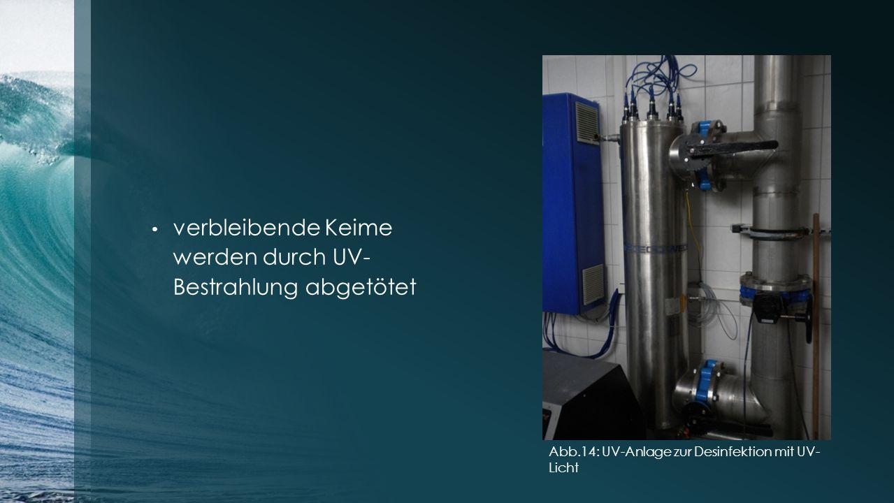 verbleibende Keime werden durch UV- Bestrahlung abgetötet