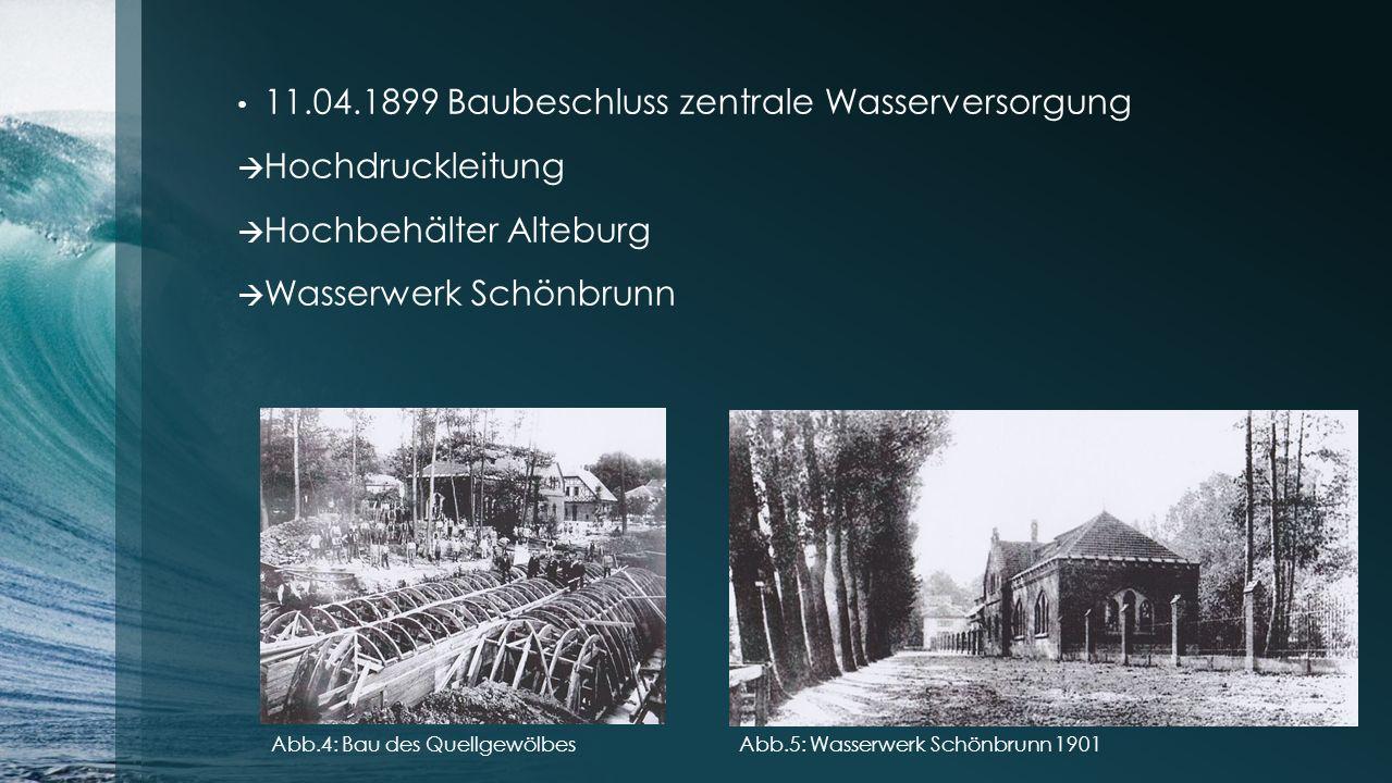 11.04.1899 Baubeschluss zentrale Wasserversorgung Hochdruckleitung