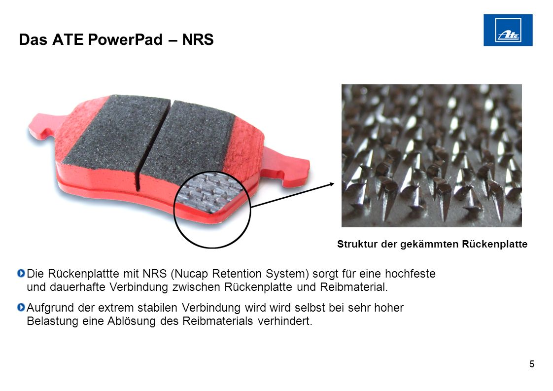 Das ATE PowerPad – NRS Struktur der gekämmten Rückenplatte. Die.