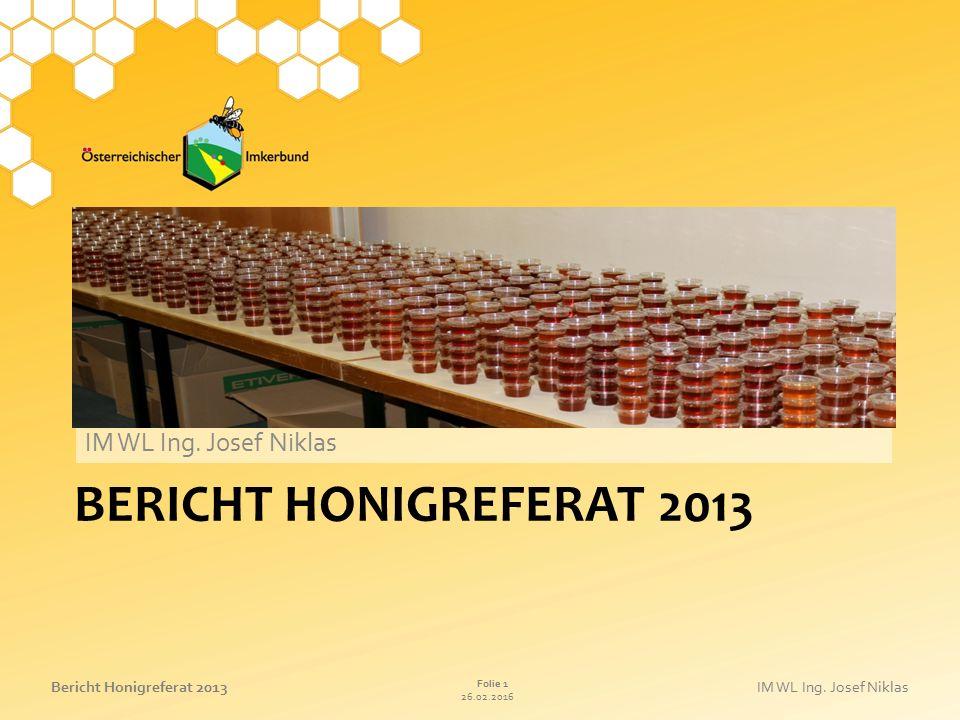 IM WL Ing. Josef Niklas bericht HonigreferAt 2013 27.04.2017