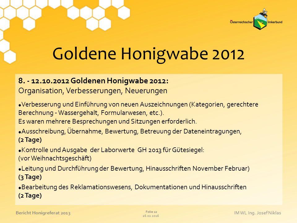 Goldene Honigwabe 2012 8. - 12.10.2012 Goldenen Honigwabe 2012: Organisation, Verbesserungen, Neuerungen.