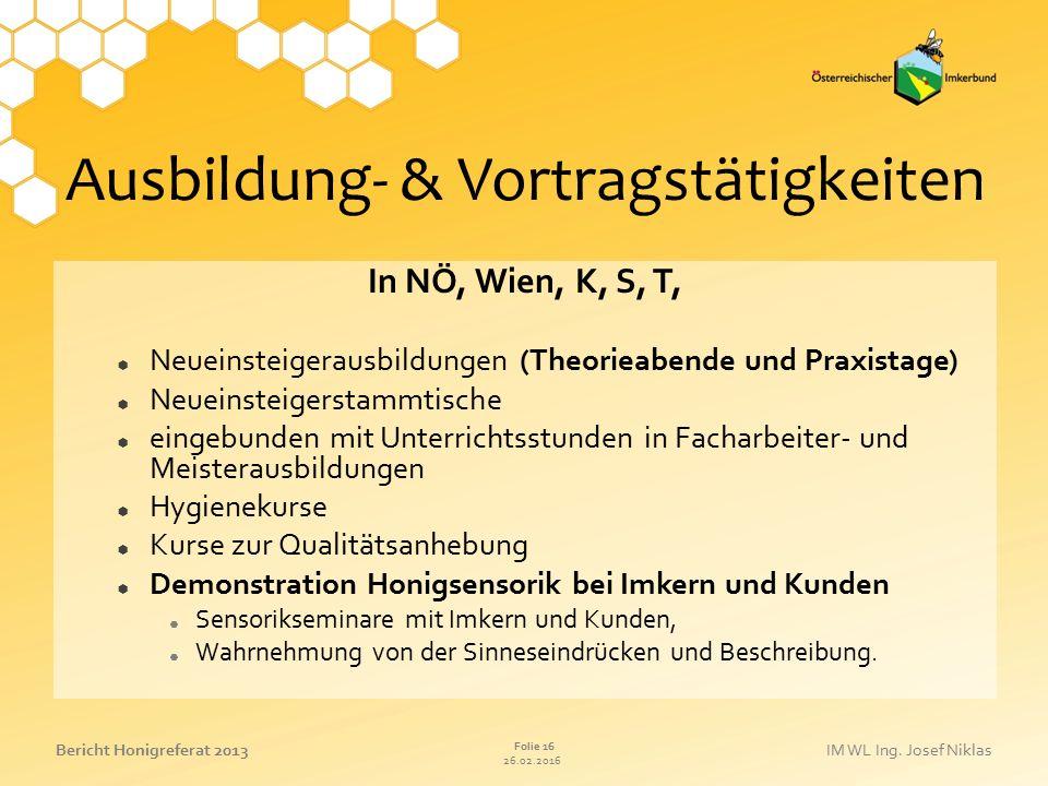Ausbildung- & Vortragstätigkeiten