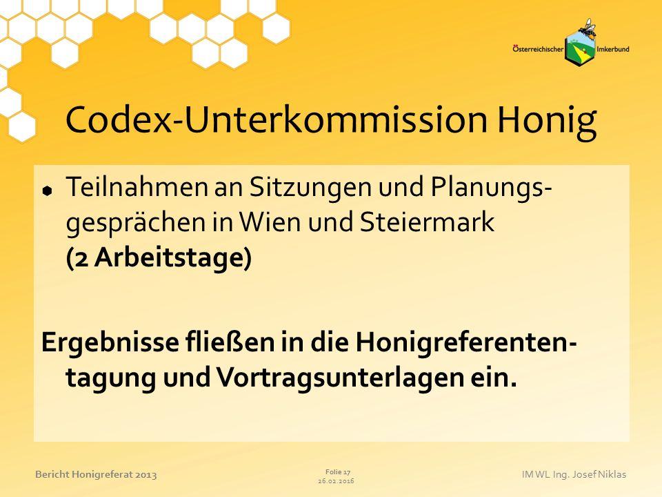 Codex-Unterkommission Honig