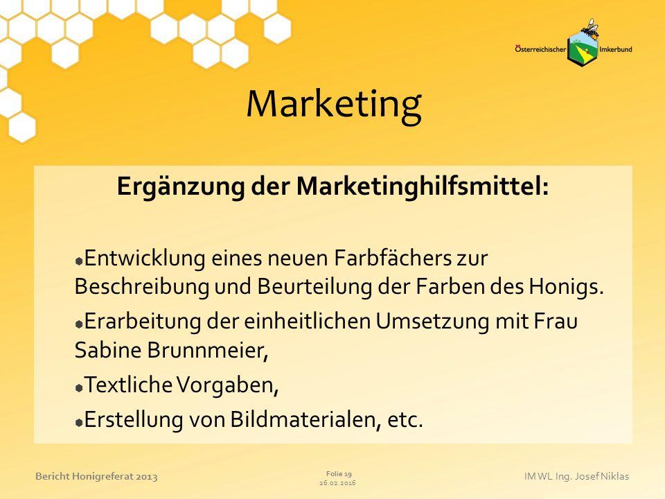 Ergänzung der Marketinghilfsmittel: