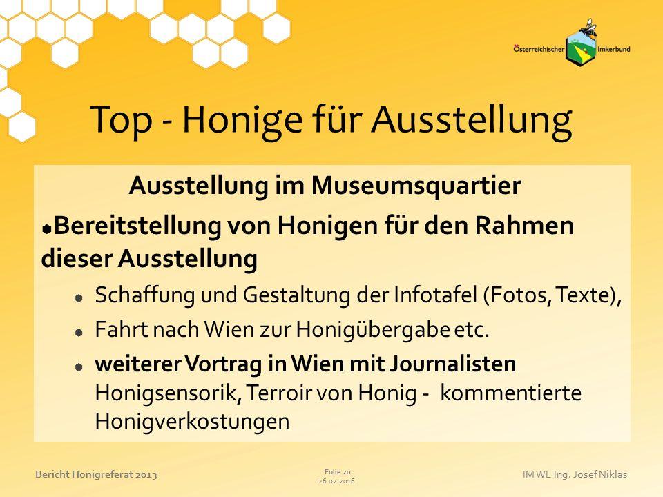 Top - Honige für Ausstellung