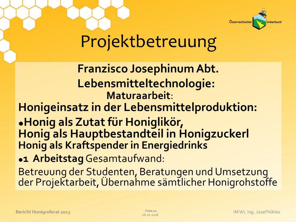 Projektbetreuung Franzisco Josephinum Abt.