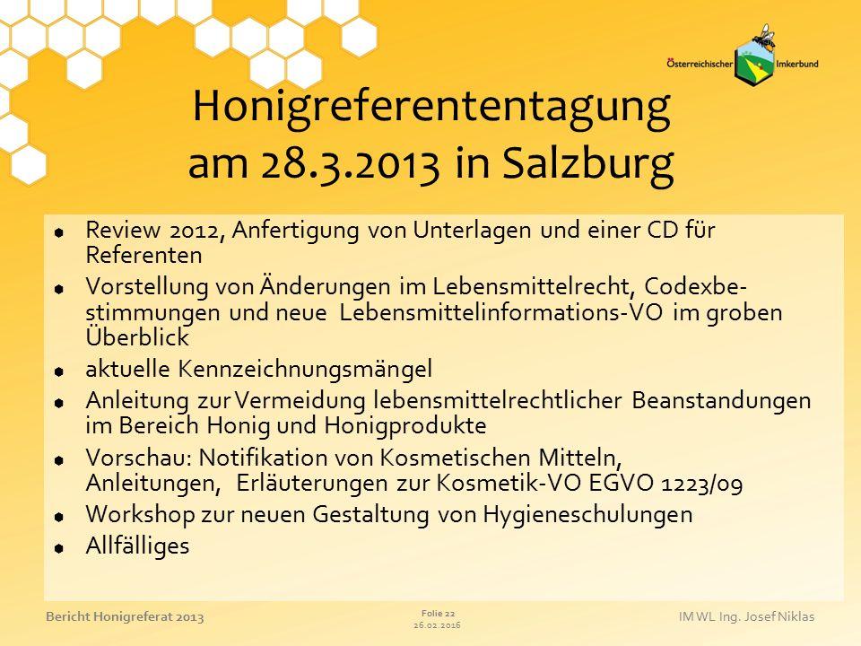 Honigreferententagung am 28.3.2013 in Salzburg