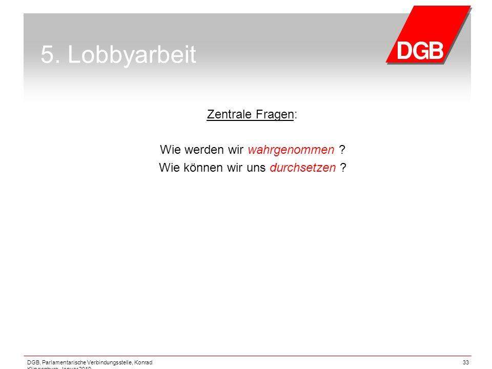 5. Lobbyarbeit Zentrale Fragen: Wie werden wir wahrgenommen