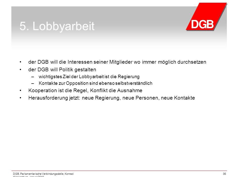 5. Lobbyarbeit der DGB will die Interessen seiner Mitglieder wo immer möglich durchsetzen. der DGB will Politik gestalten.