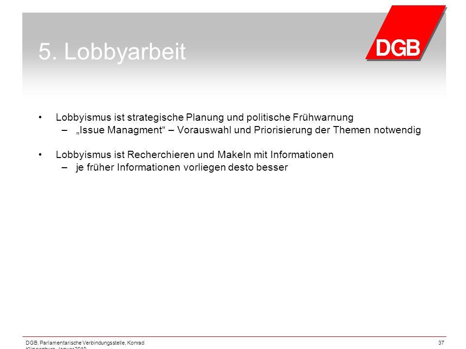 """5. Lobbyarbeit Lobbyismus ist strategische Planung und politische Frühwarnung. """"Issue Managment – Vorauswahl und Priorisierung der Themen notwendig."""